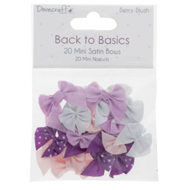 Mini Satin Bows Berry Blush - Back to Basics Dovecraft