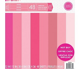 Pinks 12x12 Cardstock Paper Pad 48 sheets Craft Smith