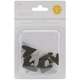 Hearts Chipboard Grey Studio Calico