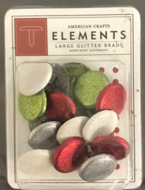 Merrymint Assortment Large Glitter Brads
