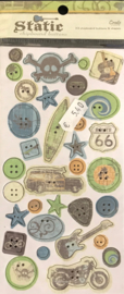 Chipboard Button stickers - Static Collection