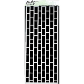 Slim Line Horizontal English Brick Wall Stencil - Picket Fence
