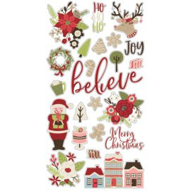 Holly Jolly Chipboard Stickers - Simple Stories