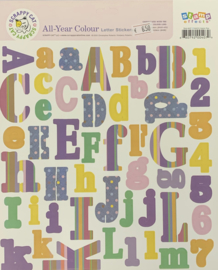 All Year Colour Letter Stickers - Scrappy Cat
