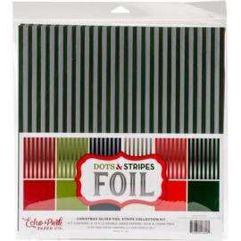 Christmas Silver Foil Stripe Kit 12x12 - Echo Park