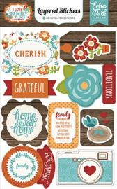 I Love Family Layered Stickers Echo Park