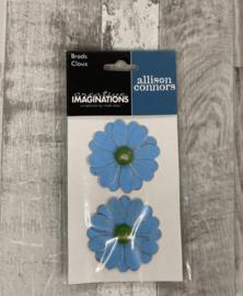 Allison Conners Flower Brads Blue - Creative Imaginations