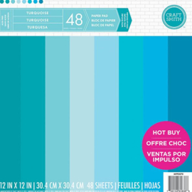 Turquoise 12x12 Cardstock Paper Pad 48 sheets Craft Smith