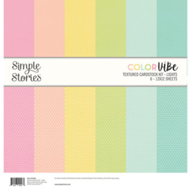 Textured Cardstock Kit Lights Color Vibe - Simple Stories