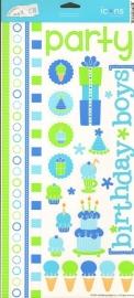 Happy Birthday Boy Icons Cardstock Stickers