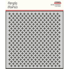 Retro Diamonds 6x6 Stencil - Simple Stories