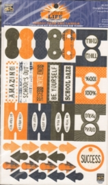 Zach's Life Fabric Tabs and Labels Orange/Brown Little Yellow Bicycle