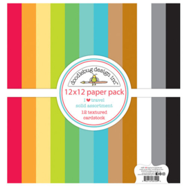 I Heart Travel Solid Assortment Textured Cardstock 12x12 Paper Pack - Doodlebug