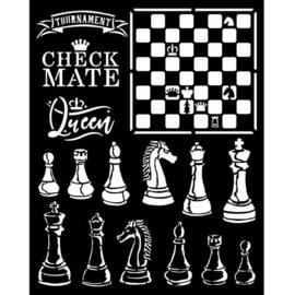 Alice Check Mate Stencil - Stamperia