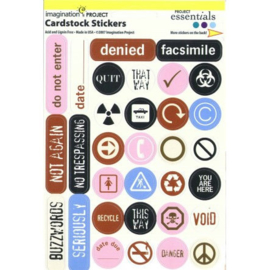 Cardstock Stickers Warning Label Circles - Project Essentials Collection