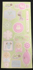 17 Chipboard Stickers Sticky Kisses Baby Powder collection