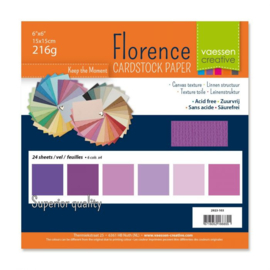 Cardstock multipack Paars 6x6 - Florence