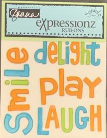 Expressionz Rub-ons Delightful Words - Junkitz