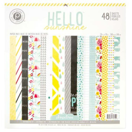 Hello Sunshine Paper Pad 48 sheets 12x12 Pink Paislee