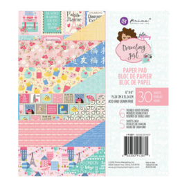 Traveling Girl Paper Pad 6x6 - Prima Marketing