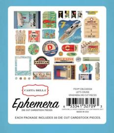 Let's Cruise Ephemera Die Cut Cardstock Pieces - Carta Bella