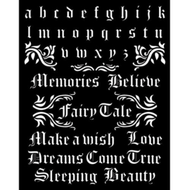 Sleeping Beauty Alphabet and Quotes Stencil - Stamperia