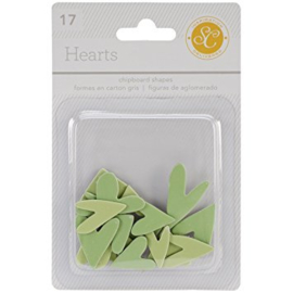 Hearts Chipboard Green Studio Calico