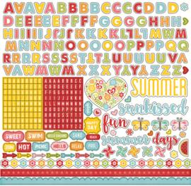 Happy Summer Alpha Stickers 12x12 Echo Park