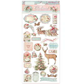 Pink Christmas Chipboard Stickers - Stamperia