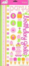 Happy Birthday Girl Icons Cardstock Stickers