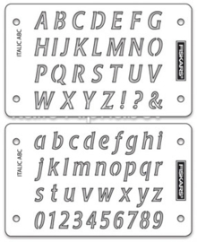 Shape Boss Embossing Stencil Italic Alphabet 2-Pack