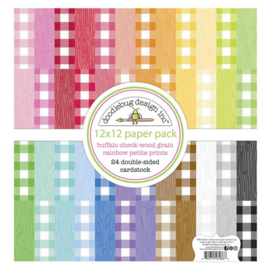 Buffalo Check-Wood Grain Rainbow Petit Prints 12x12 - Doodlebug