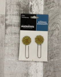 Allison Conners Gold Flower Clips - Creative Imaginations
