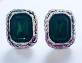 Vierkante oorbellen smaragdgroen