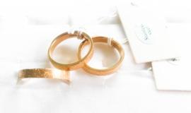 3 stainless steel ringen goud/glitter maat 18/G8