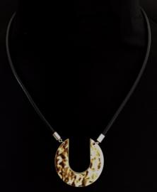 Ketting zwarte band zilver/brons hanger