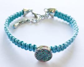 Armband blauw strass rondje