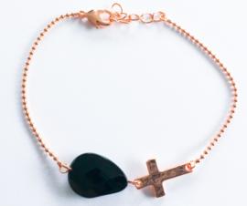 Armband verguld rosé natuursteen kruisje set van 3