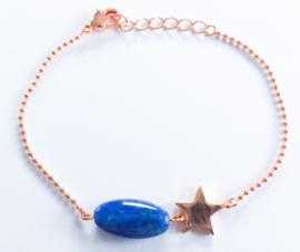 Armband verguld rosé natuursteen ster set van 3