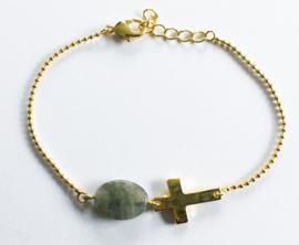 Armband verguld natuursteen kruisje set van 3