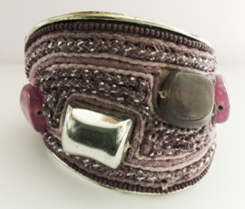 Ibiza brede klem armband paars/roze