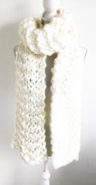 Grof gebreide sjaal beige