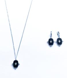 Stainless steel setje zilver/zwart ovaal