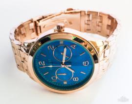 Horloge metaal rosé blauwe klok