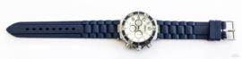 Rubberband horloge donkerblauw/zilver