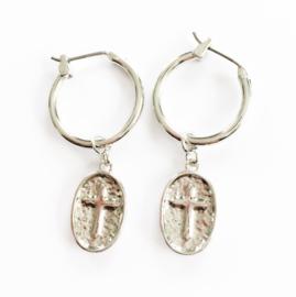 Stainless steel oorbellen kruisje ovaal zilver 2