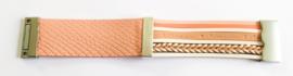 Brede armband leer zalm/roze