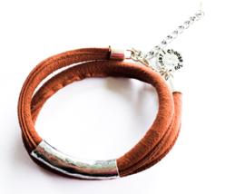 Wikkelarmband bruin zilver