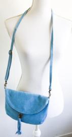 Suède tas lichtblauw