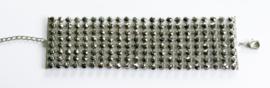 Brede armband strass grijs